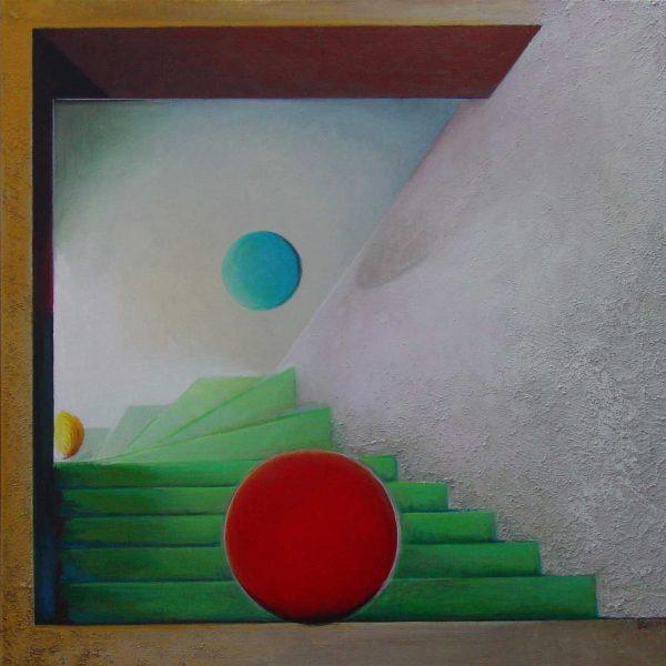 titel: trappen II / afmeting: 90 x 90 cm / materiaal: gemengde technieken paneel