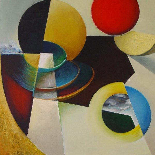 titel: compositie IV / afmeting: 125 x 90 cm / materiaal: acryl op paneel