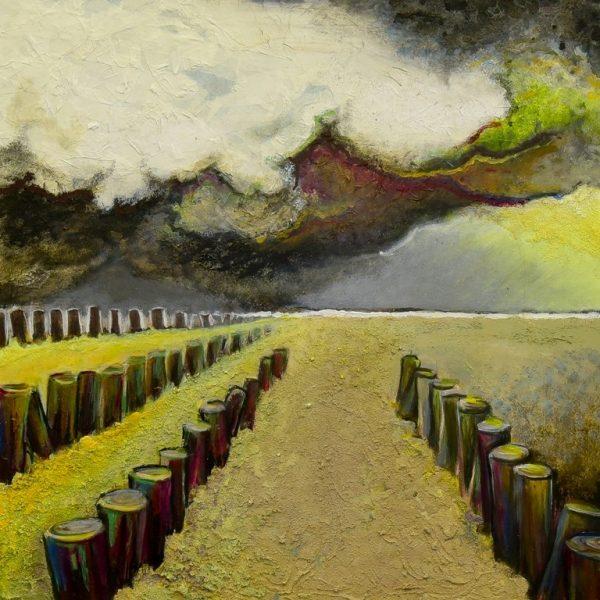 titel: landschap /  afmeting: 60 x 60 cm / materiaal: gemengde technieken paneel