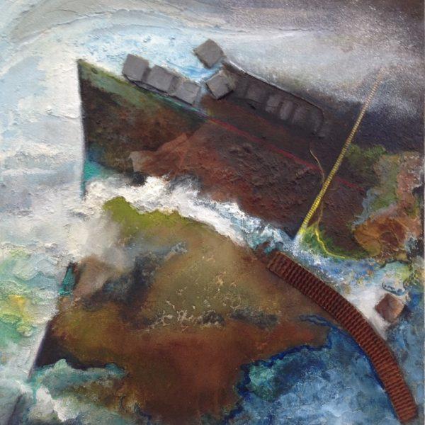 titel: storm / afmeting: 60 x 60 cm / materiaal: acryl, gemengde technieken op board.