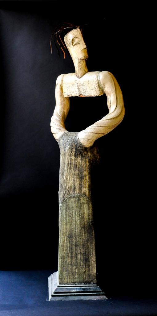 titel: macho / afmeting: 170 cm hoog / materiaal: keramiek/ijzer