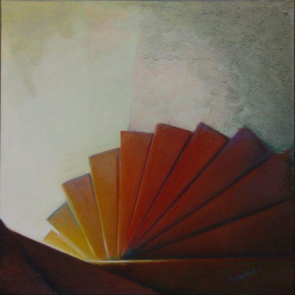 titel: trappen I  /  afmeting: 90 x 90 cm /  materiaal: acryl olie op doek