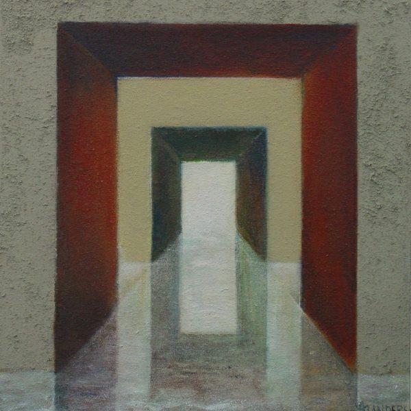 titel: water/spiegel II /  afmeting: 45 x 48 cm / materiaal: gemengde technieken paneel