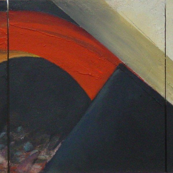 titel: storm; drieluik / afmeting: driemaal 38 x 42 cm / materiaal: gemengde technieken paneel