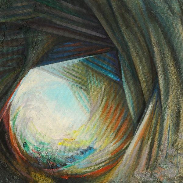 titel: wave / afmeting: 63 x 60 cm / materiaal: gemengde technieken paneel