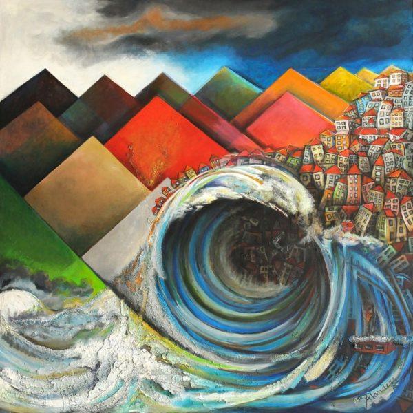 titel: tsunami / afmeting: 165 x 165 cm / materiaal:  acryl doek