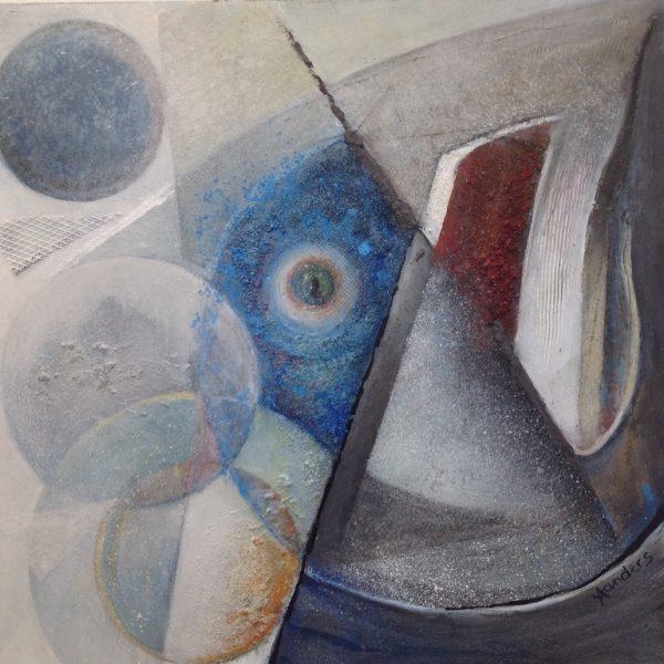titel: space VII / afmeting: 60 x 60 cm / materiaal: acryl, gemengde technieken op board.