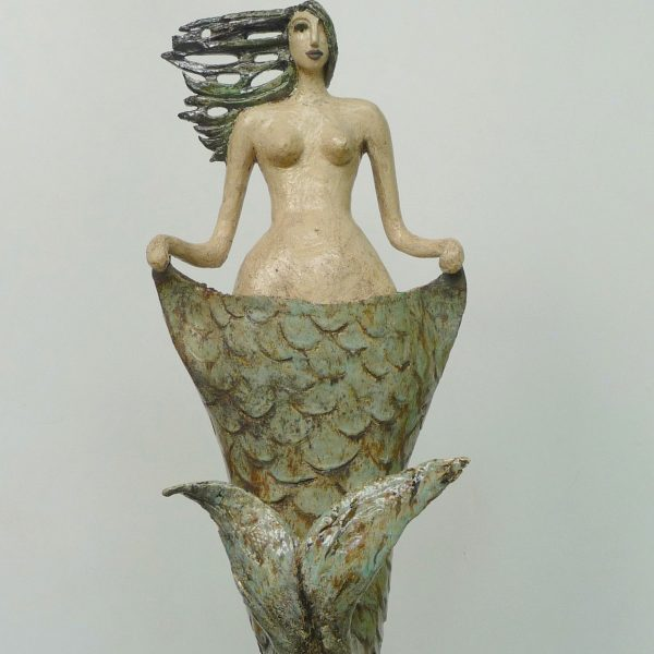 title: mermaid on pedestal  / material: ceramics