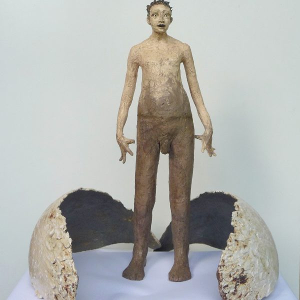 title: icarus on pedestal  / material: ceramics