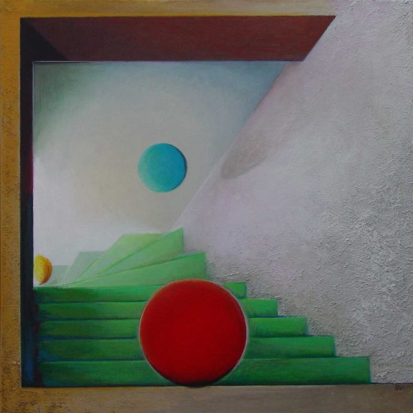 title: stairs II / size: 90 x 90 cm / material: mixed painting techniques/panel